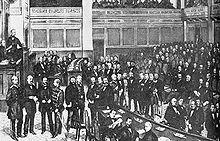 Assemblée de la confédération d'Allemagne du Nord, le 24 février 1867; Bismarck se tient directement en dessous du bureau du président du parlement.