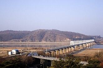 Imjin River - Bridge of Freedom crossing the Rimjin. Located in Munsan, Paju, South Korea.
