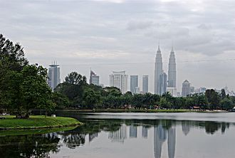 Titiwangsa - Looking southeast across Lake Titiwangsa towards the Petronas Towers