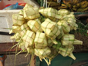Ketupat - In Indonesian markets, empty pouch of ketupat skin made from woven janur are often sold prior of Lebaran.