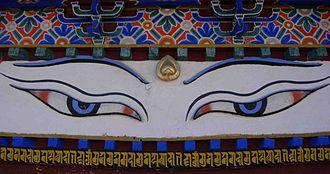 Lhasa Newar - Painted eyes and writing in Nepalese script below on the Kumbum Stupa in Gyantse.