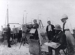 Kunstenaars in Katwijk. Links Derk Wiggers, midden Willy Sluiter, rechts Hendrik Jansen