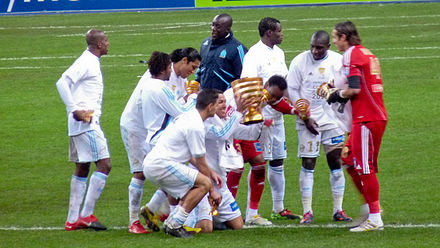 Marseille players winning Coupe de la Ligue 2009-10 - Olympique de Marseille