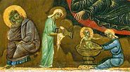 La Nativite. detail .Louvre. Guido da Siena