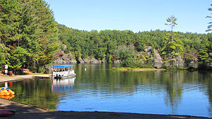 Bon Echo Provincial Park - Lagoon, ferry, and boat launch near narrows between Upper and Lower Lake Mazinaw