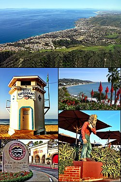 Images from top, left to right: Laguna Beach coastline, Lifeguard Tower, view from Heisler Park, Festival of Arts, and statue of Town Greeter Eiler Larsen.
