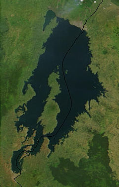കിവു തടാകം - Satellite image of Lake Kivu courtesy of NASA.