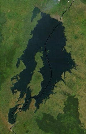 Limnic eruption - Satellite image of Lake Kivu.