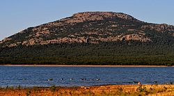 Lake Lawtonka and Mount Scott and Migrating Geese.jpg