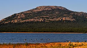 Lake Lawtonka - Image: Lake Lawtonka and Mount Scott and Migrating Geese