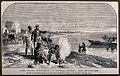 Lake Ngami; Africans and European explorers on its bank. Etc Wellcome V0018832.jpg