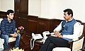 Lakshya Sen, 16, Winner of Badminton Asian Junior Championships title in Jakarta recently, calling on the Minister of State for Youth Affairs & Sports and Information & Broadcasting (IC), Col. Rajyavardhan Singh Rathore (1).JPG