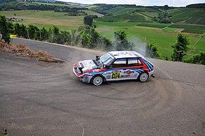 Juha Kankkunen - Kankkunen's 1992 Safari Rally Lancia Delta HF Integrale driven non-competitively during the 2008 Rallye Deutschland.
