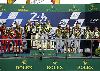 2015 24 Hours of Le Mans - The podium for the overall race winners
