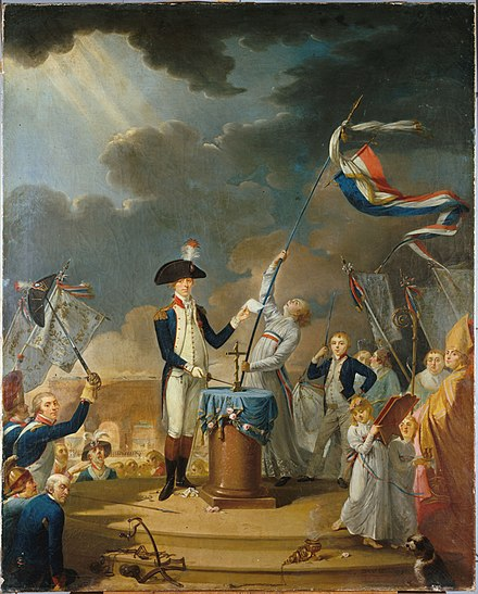 The oath of La Fayette at the Fete de la Federation, 14 July 1790. Talleyrand, then Bishop of Autun, can be seen at the extreme right. French School, 18th century. Musee Carnavalet. Le serment de La Fayette a la fete de la Federation 14 July 1790 French School 18th century.jpg