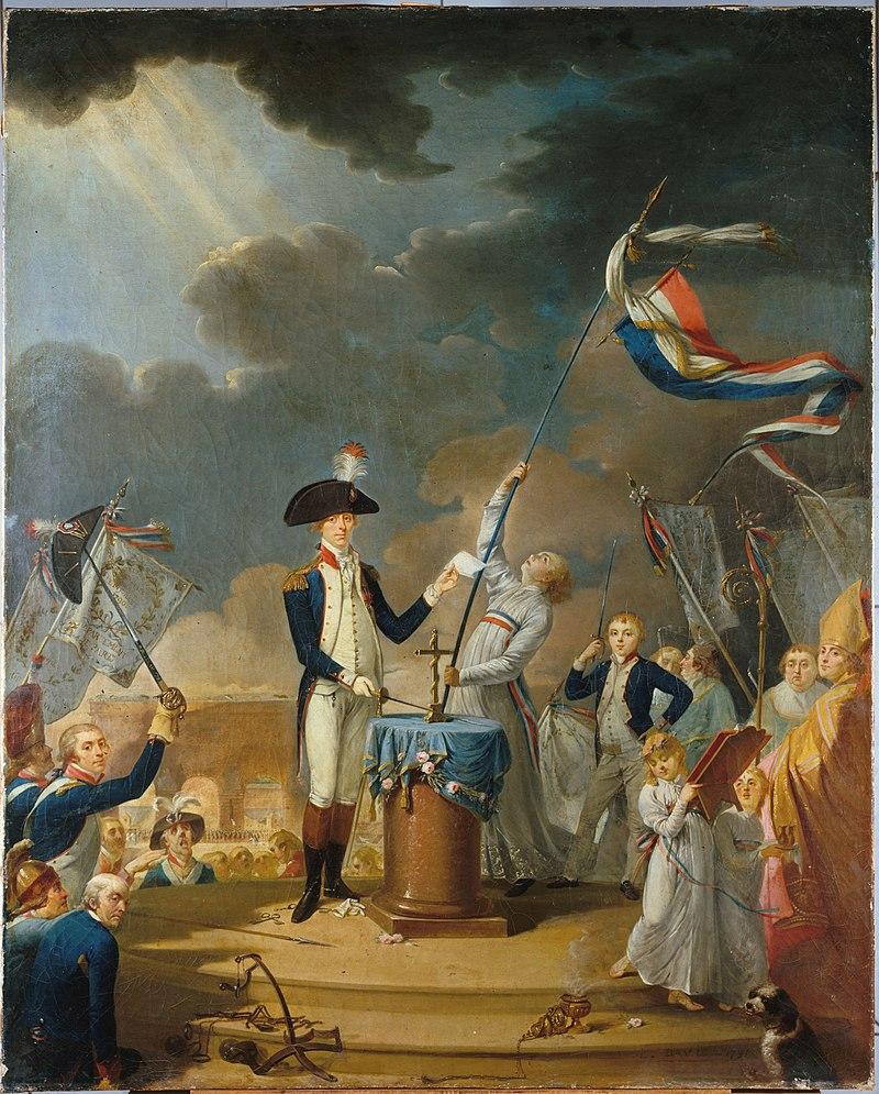 Peinture représentant une foule entourant deux personnages au centre: à gauche un militaire à bicorne à plume tendant un papier et posant la pointe d'un poignard sur un petit autel sur lequel est posé une croix, à droite un prêtre en aube blanche à ceinture tricolore, qui dresse un fanion tricolore flottant au vent. Œuvre conservée au musée de la Révolution française.