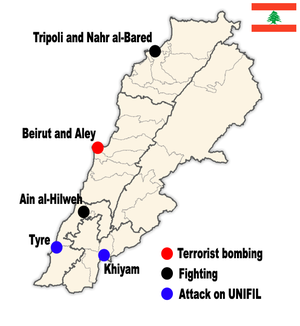 Lebanon 2007 conflict map