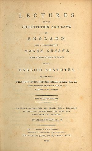 Francis Stoughton Sullivan - The title page of the second Irish edition of Sullivan's Lectures on the Constitution and Laws of England (1790), published in Dublin