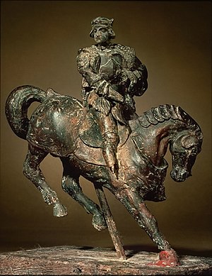Horse and Rider (Leonardo da Vinci) - Beeswax maquette of a horse and rider attributed to Leonardo da Vinci.