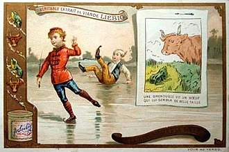 "La Fontaine's Fables - The practical lesson of ""The frog that wanted to be as big as an ox"" on a 19th-century trade card"