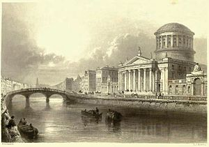 Father Mathew Bridge - 19th Century print by W.H. Bartlett of the Four Courts and Whitworth Bridge (left middle ground)