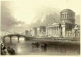 Father Mathew Bridge - 19th century print by W. H. Bartlett of the Four Courts and Whitworth Bridge (left middle ground)