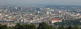 View of Linz from the Pöstlingberg mountain.