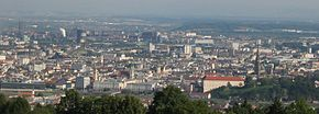 View o Linz frae the Pöstlingberg muntain