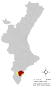 Localización de Elche respecto a la Comunidad Valenciana