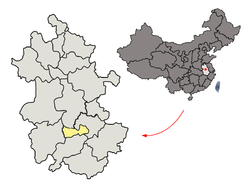 Location of Tongling City jurisdiction in Anhui