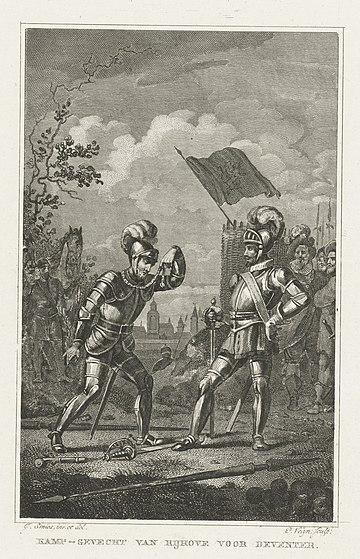 Lodewijk van der Kethulle verslaat de Spaanse ruiter, 1591 Kamp-gevecht van Rijhove voor Deventer (titel op object), RP-P-OB-80.113