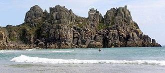 Logan Rock - The Logan Rock (circled) from the Pednvounder beach sand bar
