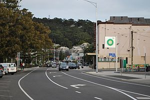 Lorne, Victoria - Mountjoy Parade, part of the Great Ocean Road and the main street of Lorne. The Lorne Theatre can be seen on the right hand side of the street.