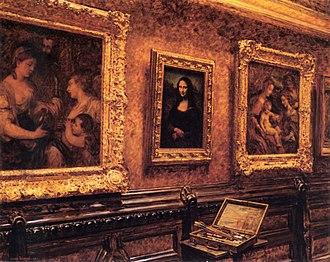 Mona Lisa replicas and reinterpretations - Image: Louis Beroud Mona Lisa au Louvre 1911