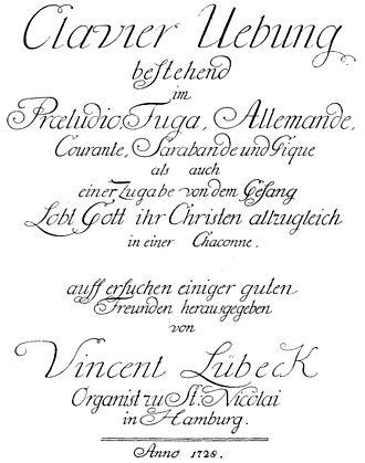 Vincent Lübeck - Title page of Lübeck's Clavier Übung