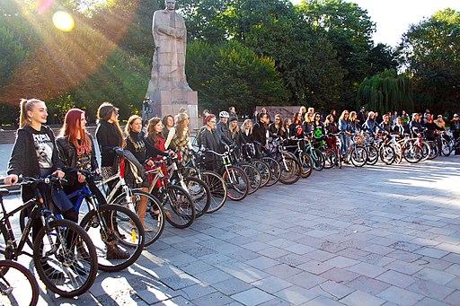 Lviv girls cycling parade