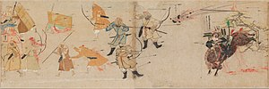 Timeline of historic inventions - A Mongol bomb thrown against a charging Japanese samurai during the Mongol invasions of Japan after founding the Yuan Dynasty, 1281.
