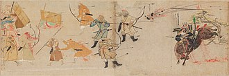 Early modern warfare - A Mongol bomb thrown against a charging Japanese samurai during the Mongol invasions of Japan after founding the Yuan Dynasty, 1281.