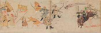 Ancient drawing depicting a samurai battling Mongol forces