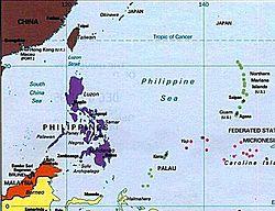 Carte de la mer des Philippines.