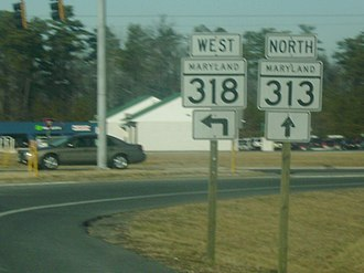 Maryland Route 318 - Northern split of MD 313 and MD 318 in Federalsburg