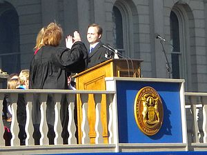 Brian Calley - Lieutenant Governor Calley takes the oath of office from Michigan Supreme Court Chief Justice Marilyn Kelly