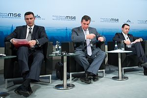 International reactions to the Euromaidan - Vitali Klitschko, Leonid Slutsky and Irakli Garibashvili at the 50th Munich Security Conference 2014.