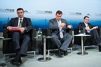 International reactions to the Euromaidan - Vitali Klitschko, Leonid Slutsky and Irakli Garibashvili at the 50th Munich Security Conference 2014.