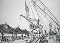MS Lechstein, Blick von der Stb.-Seite des Bootsdecks aufs Achterschiff und einen der alten Kräne der Scheldekais - Antwerpen, den 6. Juni 1959.png