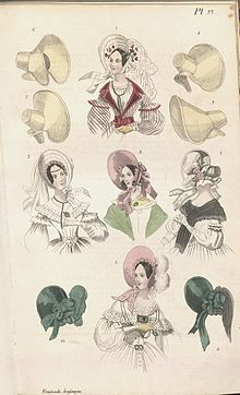 3532bed5 Bonnets in a Swedish fashion plate from 1838.