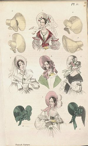Bonnet (headgear) - Bonnets in a Swedish fashion plate from 1838.