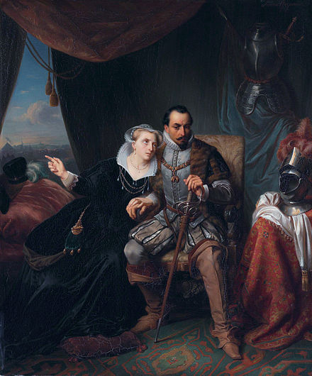 "The ""legend"", confirmed by historical research in 2014, of Magdalena Moons and Francisco de Valdez became a popular story after the siege of 1574: painting by Simon Opzoomer, ca 1845. Magdalena Moons & Francisco Valdez.jpg"