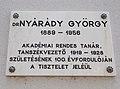 Magyaróvári Gazdasági Akadémia, Nyárády György emléktábla, 2017 Mosonmagyaróvár.jpg