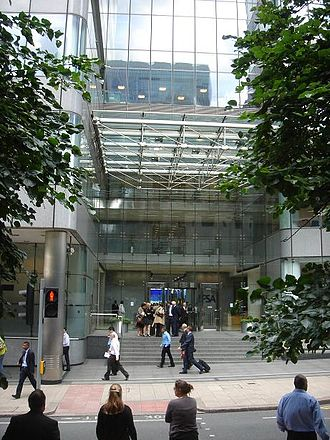 Financial Services Authority - Main entrance – 25 North Colonnade (Canary Wharf, London) – FSA building